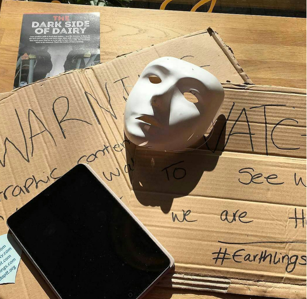 a mask and a tablet
